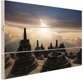 FotoCadeau.nl - Borobudur bij zonsondergang Indonesie Hout 80x60 cm - Foto print op Hout (Wanddecoratie)