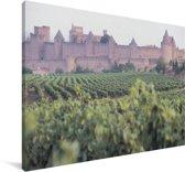 Wijngaard voor het kasteel Château Comtal in Zuid-Frankrijk Canvas 180x120 cm - Foto print op Canvas schilderij (Wanddecoratie woonkamer / slaapkamer) XXL / Groot formaat!