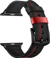 Bandje leer zwart met rode stiksels geschikt voor Apple Watch 42mm en 44mm (alle generaties)