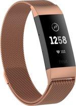 Fitbit Charge 3 Milanese Horloge Bandje Rose Goud (Medium) 2018 met magneetsluiting - Verstelbaar - RVS - Activity Tracker Wearablebandje - Milanees horloge armbandje / polsbandje - Activity tracker - horloge band - inclusief garantie!