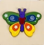 Houten Dieren puzzel Vlinder 15 cm groen-paars-geel
