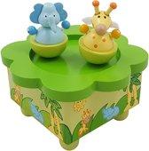 Afbeelding van Houten muziekdoos Jungle dieren speelgoed