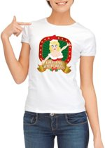 Foute Kerst shirt voor dames - Touch my jingle bells - wit S