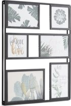 Fotolijst collage | 6 foto's | mat zwart | metaal en glas| industrieel | modern | Fotogallery