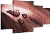 Schilderij | Canvas Schilderij Macro, Druppel | Bruin, Rood | 160x90cm 4Luik | Foto print op Canvas