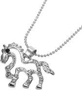 Treasure Trove® Bling Paard Ketting met Hanger - Kinderketting - Meisje - Zilverkleurig
