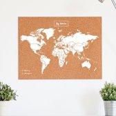 Miss Wood - WOODY MAP NATURAL kurken wereldkaart - 60x45cm (L) - Wit