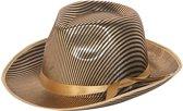 Goudkleurige gangster hoed met krijtstreep