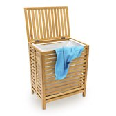 relaxdays Wasmand - Houten was mand - Bamboe hout - 100 liter met deksel - 60x50,5x35,5HBD