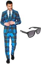 Schotse print heren kostuum / pak - maat 54 (XXL) met gratis zonnebril