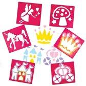 Sjablonen, 6 stuks, thema Prinses