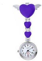 Treasure Trove® Verpleegstershorloge Paars Hart - Verpleegkundig Verpleegster Horloge