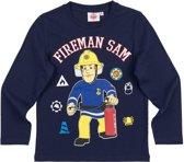 Brandweerman-Sam-T-shirt-met-lange-mouw-marineblauw - Maat 128