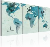 Canvas Schilderij - Ornithologische kaart van de Wereld, Blauw, 2 Maten, 3luik