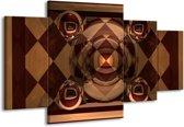 Canvas schilderij Abstract | Bruin, Geel | 160x90cm 4Luik