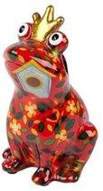 Pomme Pidou brilhouder kikker Theo - Uitvoering - Rood met bloemen en vogelhuisjes