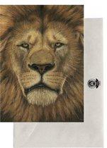 Realistische Tekening Postkaarten: Wildlife - Gemsbok - Giraffe - Luipaard - Stokstaartjes - Gazelle - Olifant - Leeuw - Dieren - Set van 7 Kaarten - Geprint op Duurzaam Papier