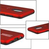 Let op type!! Voor Galaxy S9 + backcover berijpte TPU + PC beschermende hoes met Holder(Red)
