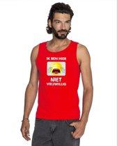 Rood mouwloos feest shirt/ tanktop - Ik ben hier niet vrijwillig met smiley voor heren 2XL