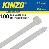 Kinzo Kabelbinders 2.5x100mm wit 100 stuks