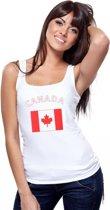 Witte dames tanktop met vlag van Canada S