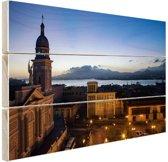 Havana in de avond  Hout 160x120 cm - Foto print op Hout (Wanddecoratie) XXL / Groot formaat!