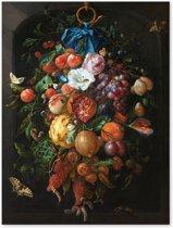 Festoen van Vruchten en Bloemen - Jan Davidsz de Heem - Outdoor Schilderij op Canvas