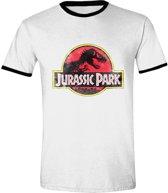 Jurassic Park - Movie Ringer Mannen T-Shirt - Wit - XL