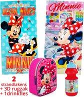 Minnie Mouse badhanddoeken kinderen 70x140   set 2 stuks + rugzak + drinkfles   Disney strandlaken   BS10