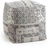 LaForma Landi - Poef - Donker grijs katoen - 40x40x40 cm