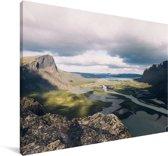 Dicht wolkenveld boven het Nationaal park Sarek in Zweden Canvas 30x20 cm - klein - Foto print op Canvas schilderij (Wanddecoratie woonkamer / slaapkamer)