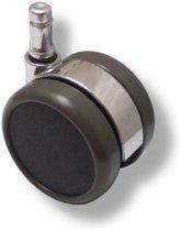 hjh office -  Bureaustoelwielen -  Design - Verchroomd voor harde vloeren - 11mm / 65mm - Set van 5 - Zwart