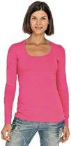 Bodyfit dames shirt lange mouwen/longsleeve fuchsia roze - Dameskleding basic shirts S (36)
