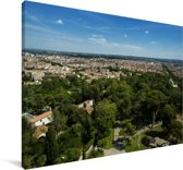 Uitzicht over de Franse stad Nîmes Canvas 180x120 cm - Foto print op Canvas schilderij (Wanddecoratie woonkamer / slaapkamer) / Europese steden Canvas Schilderijen XXL / Groot formaat!