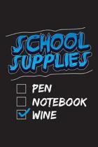 School Supplies Pen Notebook Wine