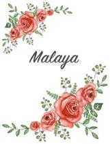 Malaya: Personalized Composition Notebook - Vintage Floral Pattern (Red Rose Blooms). College Ruled (Lined) Journal for School