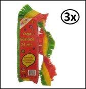 3x Crepe guirlande brandveilig rood/geel/groen 24m