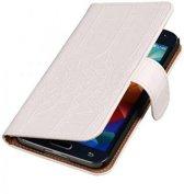 Samsung Galaxy S5 Hoesje Krokodil Bookstyle Wit