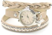 Wikkelarmband met Horloge - Kristallen - Quartz - PU-imitatieleer - Kast 25mm - Kaki - Musthaves
