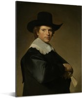 Portret van een man - Schilderij van Johannes Cornelisz Verspronck Aluminium 120x160 cm - Foto print op Aluminium (metaal wanddecoratie) XXL / Groot formaat!