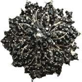 Petra's Sieradenwereld - Broche bloem zwart