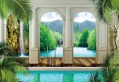 Fotobehang Tropical pool Arches | XXXL - 416cm x 254cm | 130g/m2 Vlies