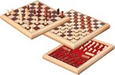 Philos houten schaak-dam set - koning 65mm - boxmaat 32 x 32 x 4 cm