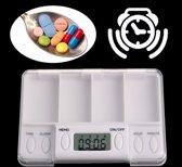 Medicijnbox Met Alarm - Medicatiedoos 4 Compartimenten - Medicijnbak Met 4 Dagdelen - Pil Organizer Medicijn Doos