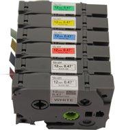 KATRIZ® huismerk label tape voor Brother | GL-100/PT-1100CH/PT-1700/PT-H100/PT-D200 | 2x Tze-231(Zwart op Wit) + 1x Tze-431(Zwart op Rood) + 1x Tze-531(Zwart op Blauw) + 1x Tze-631(Zwart op Geel) + 1x Tze-731(Zwart op Groen) | 12mm*8m | 6 stuks
