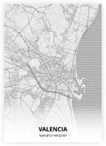 Valencia plattegrond - A3 poster - Tekening stijl