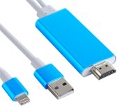 8 pin Lightning naar HDMI kabel - TV Adapter - voor Ipad / ipod en IPhone 5 tot X - Blauw - 1.8 M