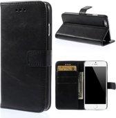 Shop4 - iPhone 6 / 6s Hoesje - Wallet Case Vintage Zwart