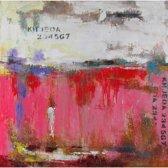 Schilderij grijs roze abstract 100x100