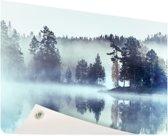 Bos omringd door mist Tuinposter 200x100 cm - Tuindoek / Buitencanvas / Schilderijen voor buiten (tuin decoratie) XXL / Groot formaat!